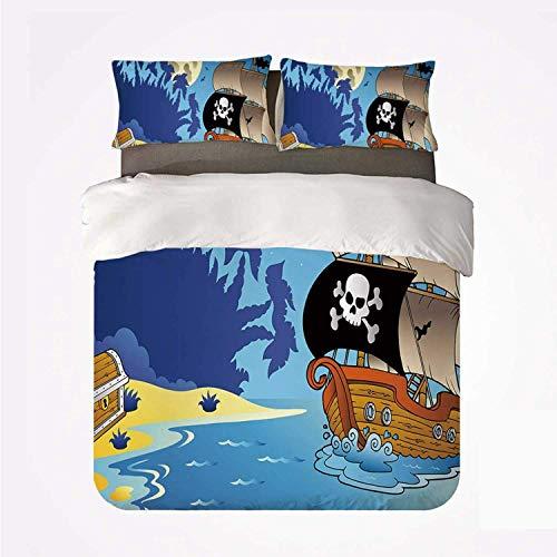 Miwaimao Pirate Buccaneer Adventure Barco Antiguo Desierto Tropical Island Cofre Medianoche Filibustero,Juego de Ropa de Cama con Funda nórdica de Microfibra y 2 Funda de Almohada - 140 x 200 cm