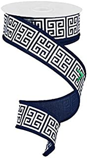 1.5 inch X 10 yard Greek Keys Navy Blue White wired ribbon