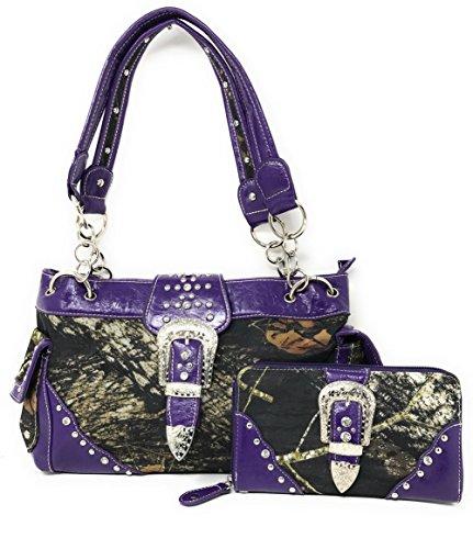 Western Concealed Carry Gun Belt Buckle Purse Camouflage Handbag Camo W Matching Wallet (Purple)