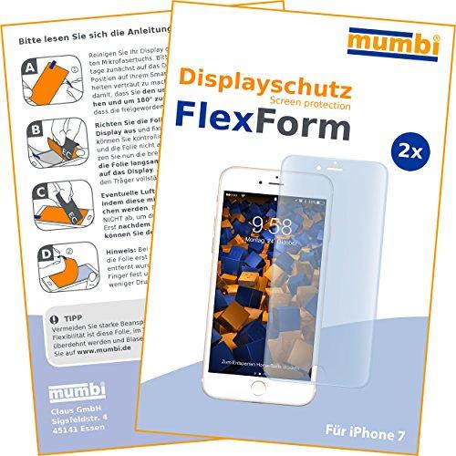 mumbi Flex Schutzfolie kompatibel mit iPhone SE 2 2020 Folie, iPhone 7 Folie, iPhone 8 Folie, Displayschutzfolie (2X)