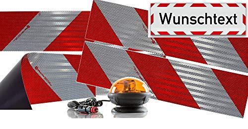UvV Rundum Kennleuchte orange magnetisch + 4 x 3M-Folien magnetische Kfz-Warnmarkierung Typ 823 + 45x15 cm Reflex Magnetschild (Halogen + Wunschtext)