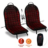 Zone Tech Heated Car Seat Cover Cushion Hot Warmer - Premium Quality 2 Pack 12V Fireproof Heating Warmer Pad Cover Perfect for Cold Weather and Winter Driving