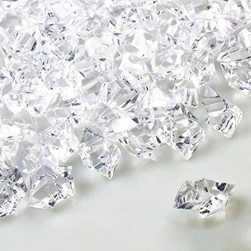 Mini roca de hielo de acrílico aplastada, 500 piezas irregulares falsos cubos de hielo transparentes para fiestas, bodas y artistas fotográficos