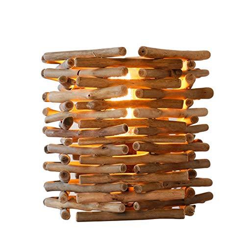 DKEE Lámparas de Mesa Rama De La Lámpara Rural, Arte Decorativo Creativo De La Lámpara De Madera (pequeño Tamaño 200 * 225 Mm, De Gran Tamaño 250 * 250 Mm, E27 Boca) (Size : Large)