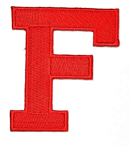 3 INCHES Red Letter F Patch Text Words English Alphabet Letters from A to Z Iron On Patches Embroidered Decorative Repair Jacket T-Shirt Hat Bag Clothing Stickers Badge Name Sewing (F)