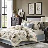 Madison Park Quincy Queen Size Bed Comforter Set Bed in A Bag - Khaki, Jacquard – 7 Pieces Bedding Sets – Ultra Soft Microfiber Bedroom Comforters