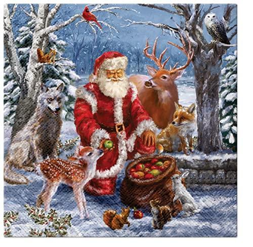 20 Servietten Weihnachtsmann füttert Tiere im Wald   Santa   Winter   Weihnachten   Tischdeko 33x33cm