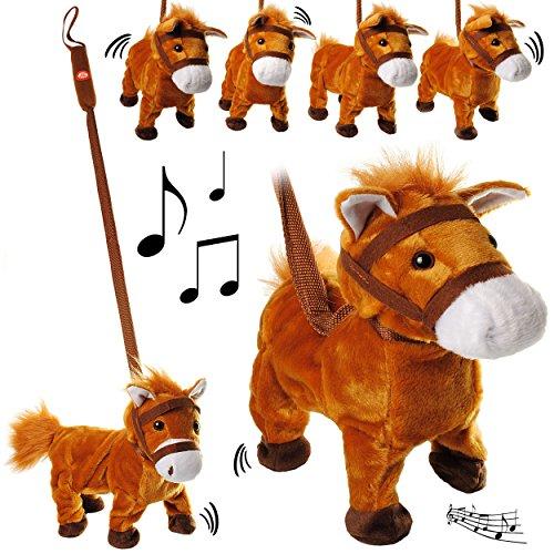 alles-meine.de GmbH XL - laufendes, wieherndes & tanzendes -  Pferd / Pony mit Leine & Stab  - Plüschtier mit Sound - Musik & Bewegung - aus Stoff / Plüsch - Pferde - Tier - SI..
