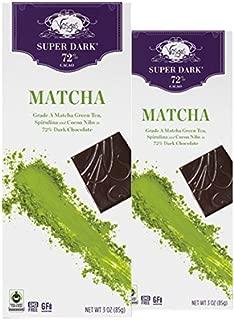 Vosges Haut-Chocolat Super Dark Matcha Green Tea & Spirulina, Pack of 2, 3oz Bars