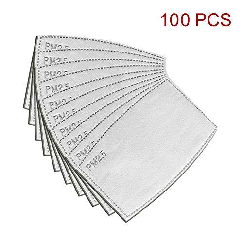 Samseed 100 Stück Aktivkohlefilter PM2,5, 5 austauschbare Schichten Anti-Beschlag, Schutzfilter für Außenmundstück