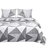 Wake In Cloud - Geometric Quilt Set, Triangle Modern Pattern Printed in Black White and Gray Grey, 100% Cotton Fabric with Soft Microfiber Inner Fill Bedspread Coverlet Beddings (3pcs, Queen Size)