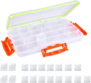 Terokota Fishing Tackle Boxes, Clear Tackle Box Organizer, Removable Dividers Tackle Trays for Fishing, Solid Utility Storage Containers with Solid Triple Locking Latches