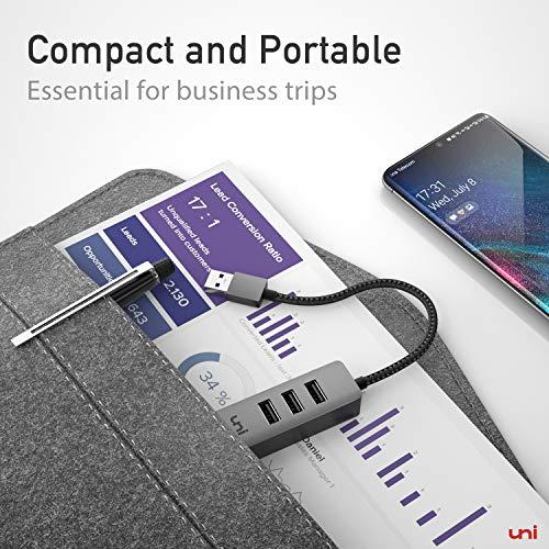 USB Ethernet Adapter, uni USB 3.0 Ethernet Hub mit RJ45 1Gbps Netzwerk LAN Anschluss für MacBook(mit USB-Port-Version), iMac, Mac, XPS, Surface, Notebook - Space Grau