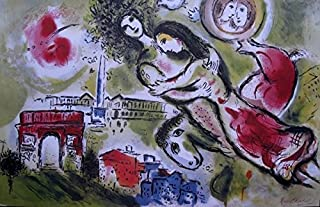 Artwork by Marc Chagall Romeo And Juliet Limited Edition Lithograph Print. After the Original Painting or Drawing. Measures 36 Inches X 23