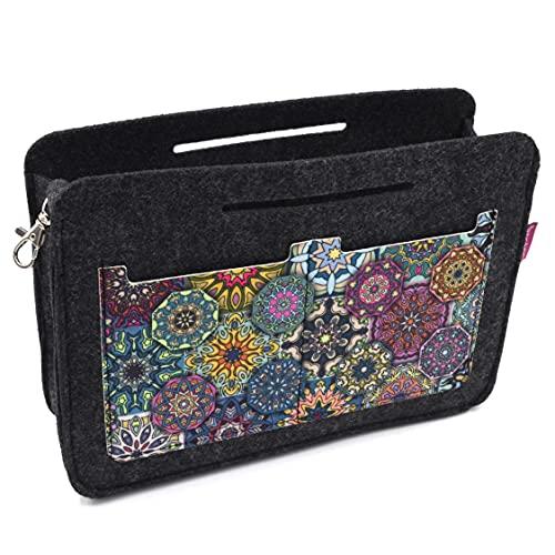 Bertoni Valencia - Organizador de bolsos de fieltro multicolor con estampado, bolsillo interior para bolsa, color antracita