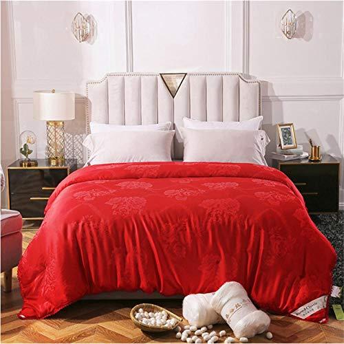 100% Mulberry Silk Comforter Winter For Deep Sleep Jacquard Silk Queen King Quilt.-red_220X240CM/4KG