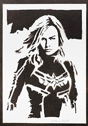 Captain Marvel Poster Plakat Handmade Graffiti Street Art - Artwork