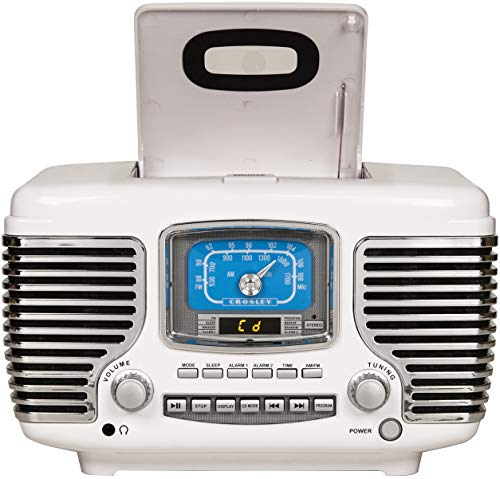 Crosley CR612B-WH Corsair Tabletop AM/FM Bluetooth Radio with CD Player and Dual Alarm Clock, White