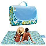 Picnic Blanket | Beach Mat|Picnic Blanket for Indoor and Outdoor, 80' x 57' Sandproof Waterproof Larger Mat for Beach, Travel, Camping, Hiking, Park Grass,Machine Washable, Foldable (Blue Flower)