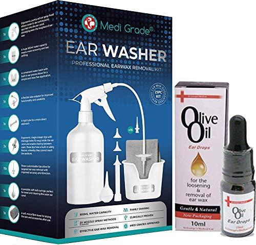 Ohrenreiniger zur Entfernung von Ohrenschmalz, Ohrreiniger mit 500 ml Flasche + 100% reines Olivenöl Ohrentropfen, Komplettes Ohrspülungsset von Medi Grade, Ohrenschmalz Entferner für besseres Hören