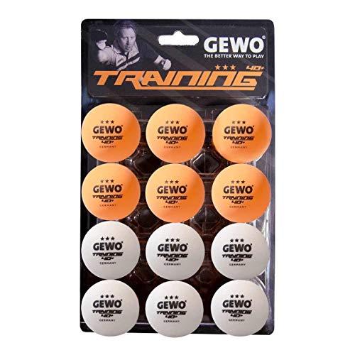GEWO 3-Stern Handlichen 12er Pack Tischtennisball, Weiß/Orange gemischt, 40 mm