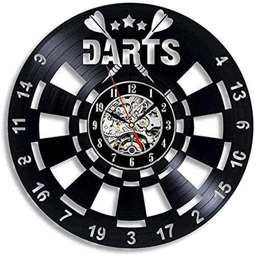 WZCXYX Wanduhr Darts Schallplatte Wanduhr Spielzimmer Dekor 3D-Uhr Wanduhr Dartscheibe Pub Darts Spiel Night Club Dekoration-No_Led