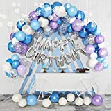 123Pcs Ice Snow Balloons Garland Arch Kit, 14''12''5''Purple Blue White Silver Confetti Happy Birthday Snowflake Foil Balloons for Frozen Theme Birthday Party Supplies Decorations with 5 Balloon Tools