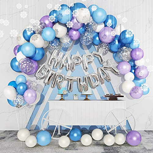 123Pcs Ice Snow Balloons Garland Arch Kit, Purple Blue White Silver Confetti Happy Birthday Snowflake Foil Balloons for Froz en Theme Birthday Party Supplies Decorations