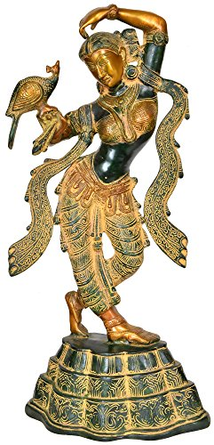 Exotic India A Young Lady Applying Vermilion (A Sculpture Inspired by Khajuraho) - Brass Statue - Color Black Green Gold Color
