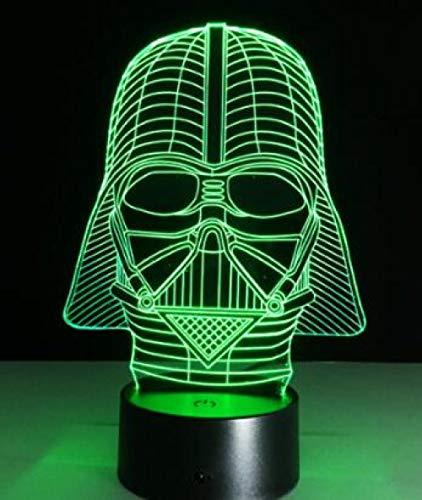 JJIEZZ Luz de Noche 3D 7 Colores Juguetes de iluminación de luz de Noche Multicolor 3D-Darth Vader 2_Cambio de 7 Colores