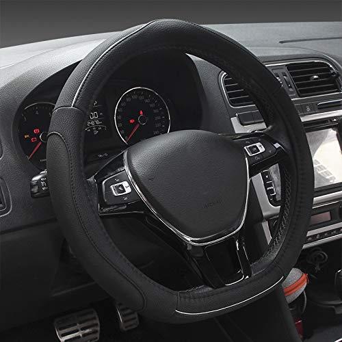 """Yopria D Tipo Coprivolante Auto Universale 38 cm (15""""), Premio D-Shape Copri Volante per Auto Pelle da Cucire (Nero)"""
