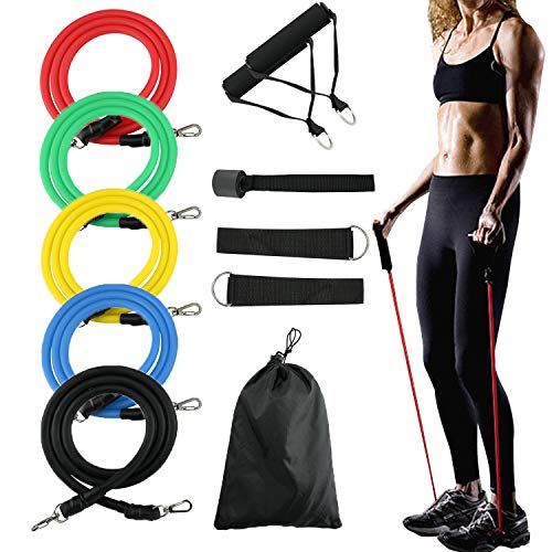 TAISHAN 11 Pack Resistance Bands Set,Include 2 Resistance Bands Handles,5 Stackable Fitness Bands with Door Anchor, 2 Metal Foot Ring & Carrying Bag,Exercise Bands for Home, Resistance Training, Yoga