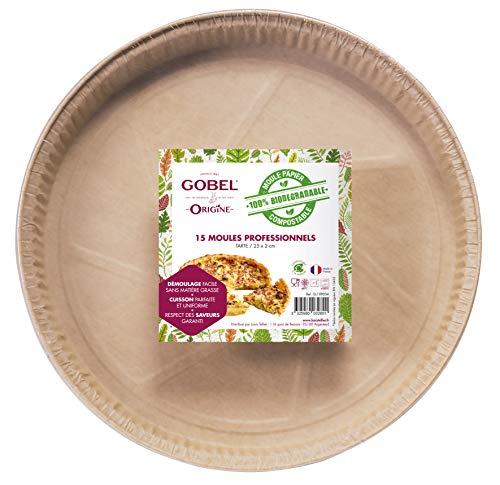 Gobel - Lote de 15 moldes profesionales para tartas, desechables de papel natural, 100 % biodegradable, compostables después de su uso, aptos para horno, frigorífico, congelador, fácil de desmoldar.