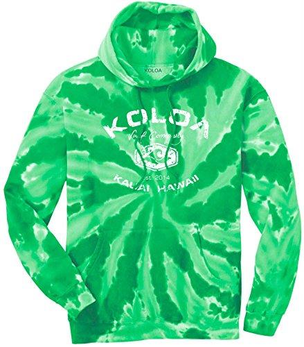 Koloa Surf(tm) Vintage Arch Logo Tie-Dye Hooded Sweatshirt,3XL - Kelly/w