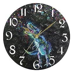 3. Naanle Fireworks Dinosaur Round Silent Wall Clock