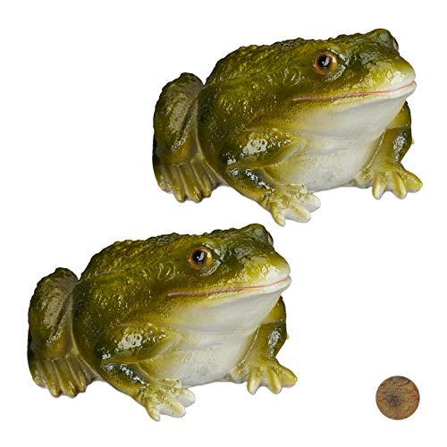 Relaxdays 2 x Gartenfigur Frosch, wetterfest, für Balkon, Terrasse, am Teich, Kunststein, sitzende Dekofigur Frosch, grün