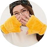 Small-shop-gloves Femmina Cute Candy Color Plush Guanti Senza Dita Inverno Caldo Donne Mezze Dita Guanto Doppio Velluto Spesso Student battitura L93, Donna, Ginger Yellow, oneszie