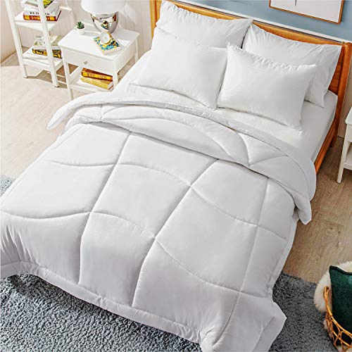 Bedsure Comforter Full/Queen Size 300 GSM Microfiber All Season Fluffy Duvet Insert with Corner Tabs Quilted Lightweight White Hypoallergenic...