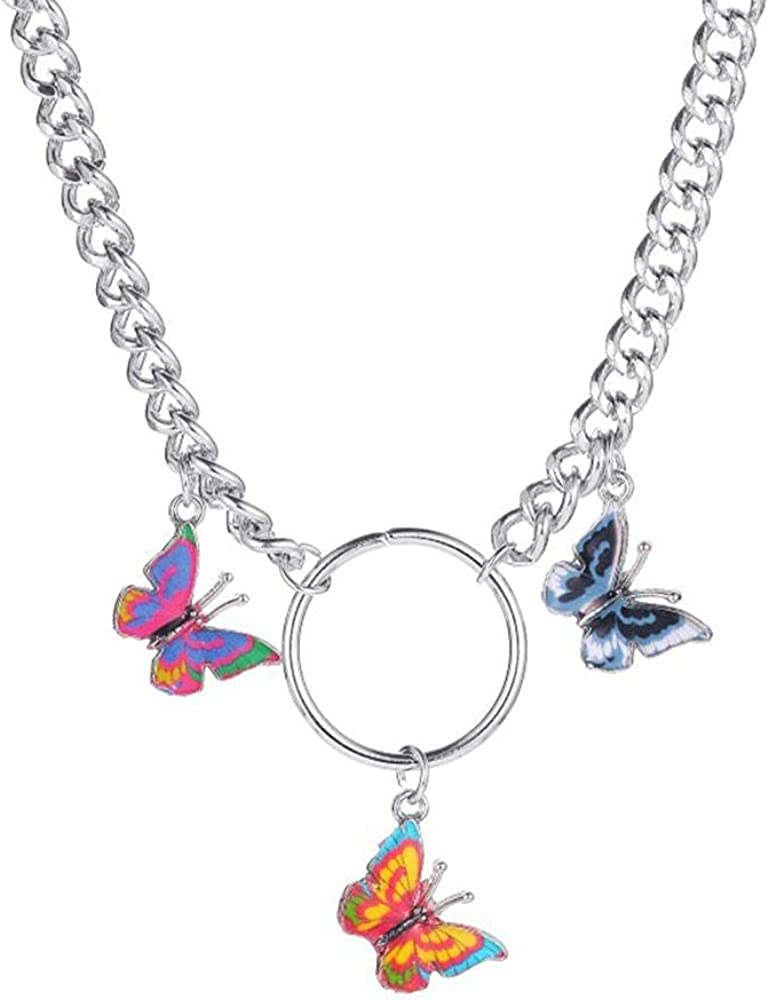 Punk Style Color Butterfly Choker Necklace Jewelry Women Collares Gothic Hip Hop Gift Necklace Collares