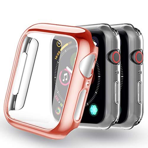 Yoowei [3-Pack Apple Watch Series 4/Series 5 Fundas 44mm (Rosa + 2 Transparentes), Protector iWatch Case Protección Completo Ultra Funda Suave TPU para Nueva Apple Watch 4/5 44mm