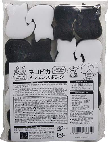 小久保工業所 ネコピカメラミンスポンジ (約3.5×5×2cm (1個あたり)) キッチン 蛇口 (ねこ型メラミンスポンジ/洗剤不要) カット済 猫グッズ かわいい 5621 16個入