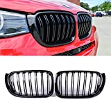 SNA F25 Grill Compatible with BMW 2014-2017 X3 F25, 2014-2018 X4 F26 Front Kidney Grille Gloss Black ABS with Double Slats, 2-pc Set