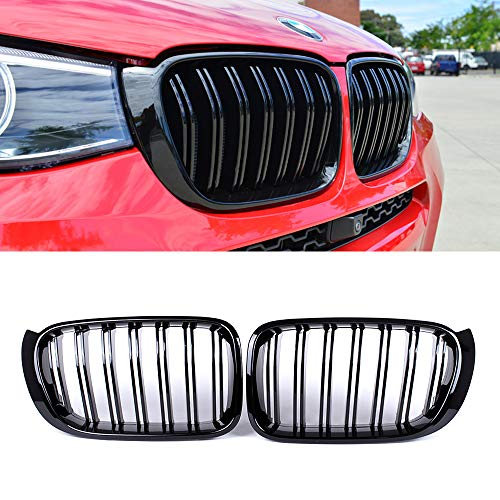 SNA Gloss Black ABS Front Kidney Grille with Double Slats Mesh Grill Compatible for BMW X3 F25 X4 F26, 2-pc Set