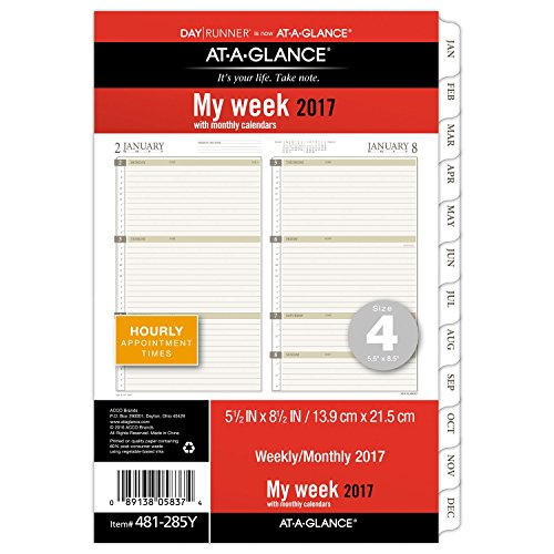 Day Runner Weekly Planner Refill 2016, 5.5 x 8.5 Inches Page Size (481-285Y-16)