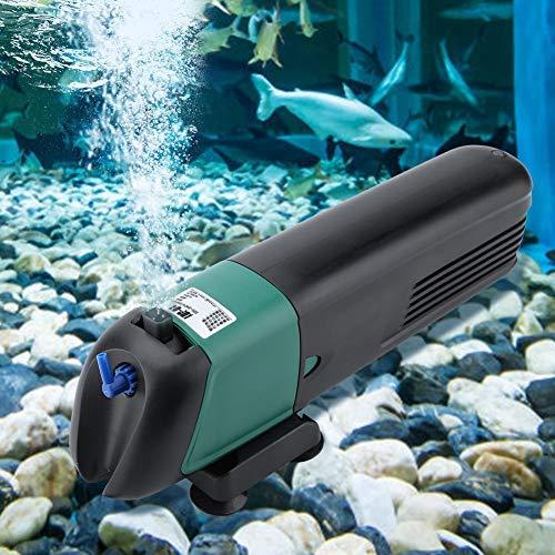 HEEPDD Filtre d'aquarium, 3 en 1 Filtre de stérilisateur UV de Cartouche filtrante Submersible de Pompe à air d'oxygène avec Ventouse pour la Circulation d'aération de Filtration 220-240V(LUP-01)
