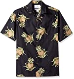 Amazon Brand - 28 Palms Men's Relaxed-Fit 100% Cotton Tropical Hawaiian Shirt, Black Pineapple, X-Large