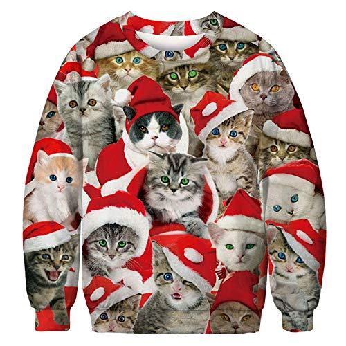 SMYUI 3D Hoodies Sudaderas con Hombre Divertida Divertida Impresión Pullover Bolsillos Funny Christmas Cat Pattern Christmas T-Shirt Pullover de manga larga-XSF320.1 XXXL Funny Christmas Cat Pattern C