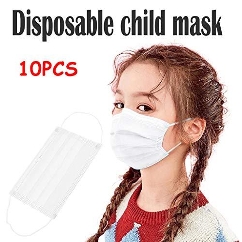 Shulky Einweg-Kinder-Cartoon-Gesichtsschutz, Staub und Smog,Reinweiße Face Shield Mundbedeckung(Weiß)