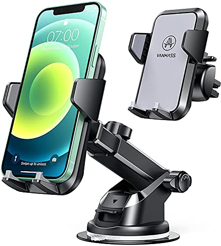 VANMASS Universal Cell Phone Holder for Car, 【Grandmaster Full Sillicone & Phone Protection】with Patent & Safety Certs, Upgraded Handsfree Car Phone Holder Mount Dash Window Vent, Compatible All Phone