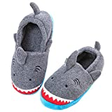 Little Kids Big Boys House Slippers, Kids Warm Slip On Home Slippers with Soft Memory Foam Cute Winter Nonslip Indoor Shark Slippers